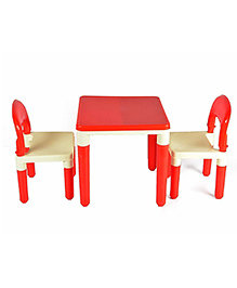 Toyshine 2 In 1 Building Blocks Cum Table & Chair Set - Red