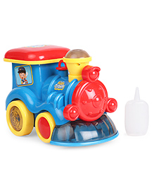 Dr.Toy Train Battery Operated Bump & Go Engine Toy With Lights Music & Vapour - Yellow & Blue