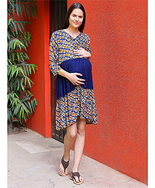 Mine4Nine Printed Maternity Dress - Navy Blue