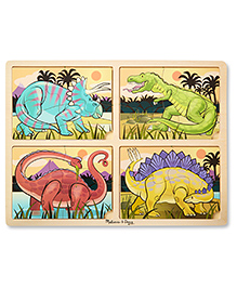 Melissa & Doug 4-in-1 Wooden Dinosaur Jigsaw Puzzle - 12 Pieces
