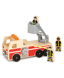 Melissa & Doug Classic Wooden Fire Truck Play Set - Cream & Red