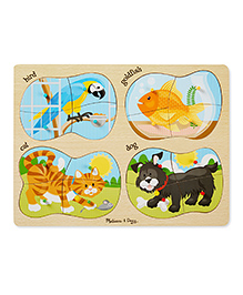 Melissa And Doug 4-in-1 Pets Peg Puzzle - Multicolour