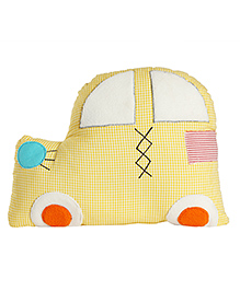 My Gift Booth Car Shape Solid Colour Cotton Cushion - Yellow