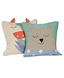 My Gift Booth Cushion Covers Green & Cream - Pack Of 2