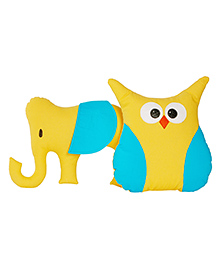 My Gift Booth Owl & Elephant Cushion Set Yellow - Pack Of 2