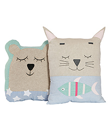 My Gift Booth Bear & Cat Cushion Set Beige - Pack Of 2