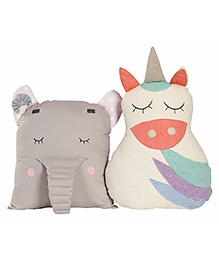 My Gift Booth Elephant & Unicorn Cushion Set Grey & White - Pack Of 2