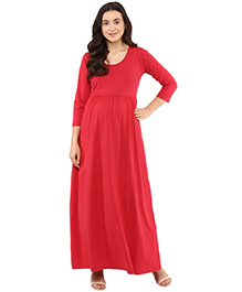 Momsoon Three Fourth Sleeves Maxi Dress - Red