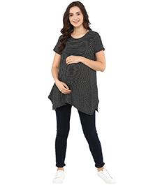 Momsoon Short Sleeves Striped Maternity Top  - Black