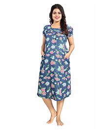 Mamma's Maternity Short Sleeves Denim Dress Floral Print - Dark Blue