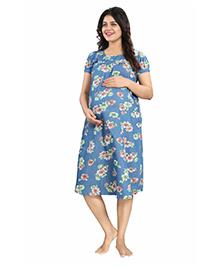 Mamma's Maternity Short Sleeves Denim Dress Floral Print - Light Blue