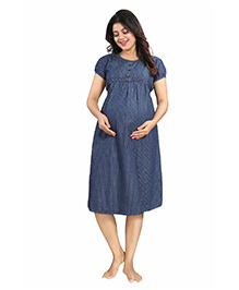 Mamma's Maternity Short Sleeves Denim Dress Polka Dots Print - Blue