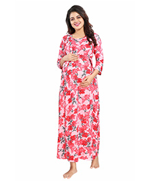 Mamma's Maternity Three Fourth Sleeves Dress Floral Print - Peach Red