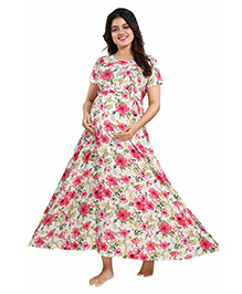 Mamma's Maternity Short Sleeves Dress Floral Print - White