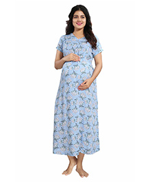 Mamma's Maternity Half Sleeves Maternity Dress Floral Print - Blue