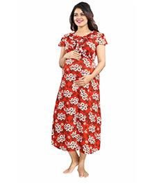 Mamma's Maternity Short Sleeves Dress Floral Print - Red & White
