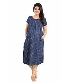 Mamma's Maternity Half Sleeves Maternity Dress Arrows Print - Blue