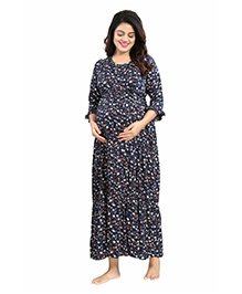 Mamma's Maternity Three Fourth Sleeves Rayon Dress Floral Print - Navy Blue