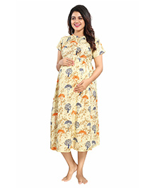 Mamma's Maternity Short Sleeves Rayon Dress Tree Print - Yellow Blue