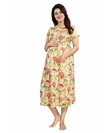 Mamma's Maternity Short Sleeves Rayon Dress Tree Print - Yellow Red
