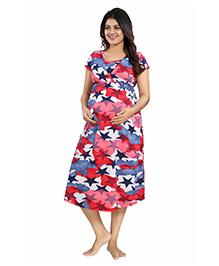 Mamma's Maternity Short Sleeves Hosiery Dress Stars Print - Blue Red