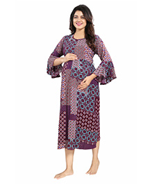 Mamma's Maternity Bell Sleeves Rayon Dress Abstract Print - Maroon Purple