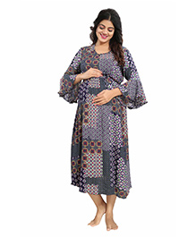 Mamma's Maternity Bell Sleeves Rayon Dress Abstract Print - Navy Blue