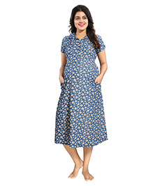 Mamma's Maternity Short Sleeves Denim Dress Floral Print - Blue Peach