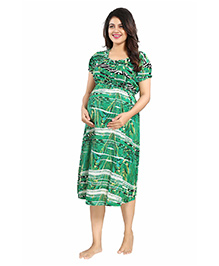 Mamma's Maternity Short Sleeves Rayon Dress Abstract Print - Dark Green