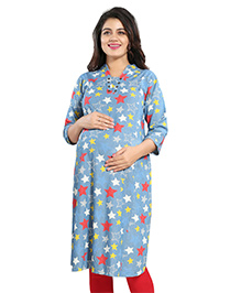 Mamma's Maternity Three Fourth Sleeves Denim Kurti Stars Print - Light Blue