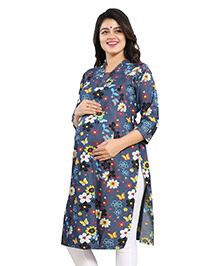 Mamma's Maternity Three Fourth Sleeves Denim Kurti Floral Print - Dark Blue