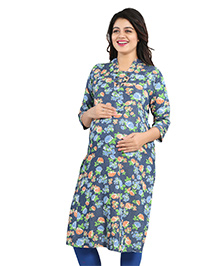 Mamma's Maternity Three Fourth Sleeves Denim Kurti Floral Print - Blue Green
