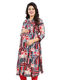 Mamma's Maternity Three Fourth Sleeves Rayon Kurti Abstract Print - Red Blue