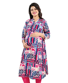 Mamma's Maternity Three Fourth Sleeves Rayon Kurti Abstract Print - Pink Blue