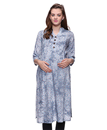 Mamma's Maternity Three Fourth Sleeves Rayon Kurti Cherry Print - Light BLue