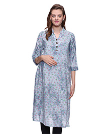 Mamma's Maternity Three Fourth Sleeves Rayon Kurti Floral Print - Light BLue