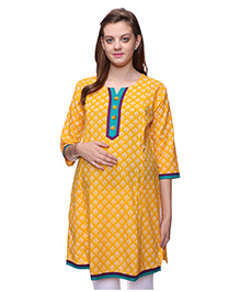 Mamma's Maternity Three Fourth Sleeves Nursing Kurti Floral Print - Yellow