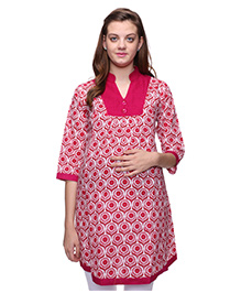 Mamma's Maternity Three Fourth Sleeves Nursing Kurti Floral Print - White Pink