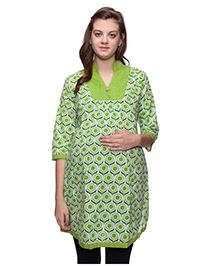 Mamma's Maternity Three Fourth Sleeves Nursing Kurti Floral Print - White Green