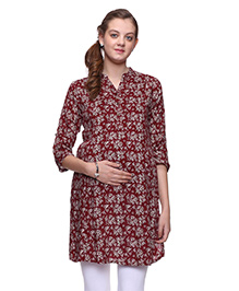 Mamma's Maternity Three Fourth Sleeves Nursing Kurti Floral Print  - Maroon