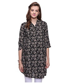 Mamma's Maternity Three Fourth Sleeves Nursing Kurti Floral Print  - Black