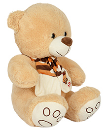 Dhoom Soft Toys Teddy Bear With Muffler Light Brown - Height 40 Cm