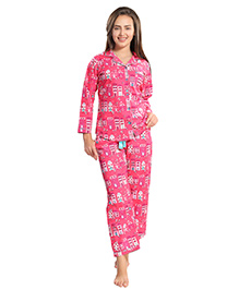 Piu Maternity Full Sleeves Sleep Wear Building Print - Pink