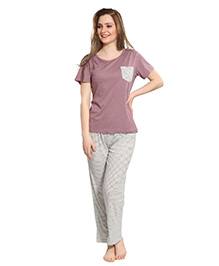 Piu Maternity Half Sleeves Striped Sleep Wear - Purple