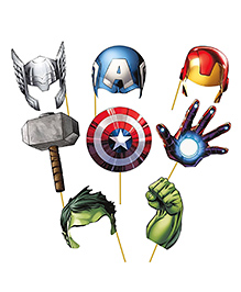 Party Propz Avengers Photobooth Multi Colour - Pack Of 8