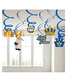 Party Propz Prince Themed Swirl Decoration Blue & Golden - Pack Of 6