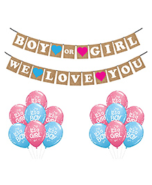 Party Propz Baby Shower Decoration Combo Multicolour - Pack Of 15