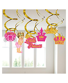 Party Propz Princess Themed Birthday Swirl Pack Of 6 - Pink