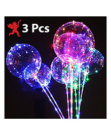 Party Propz Transparent LED Balloons Multicolour - Pack Of 3