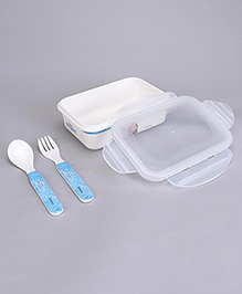 Disney Frozen Lunch Box With Fork & Spoon - Blue White